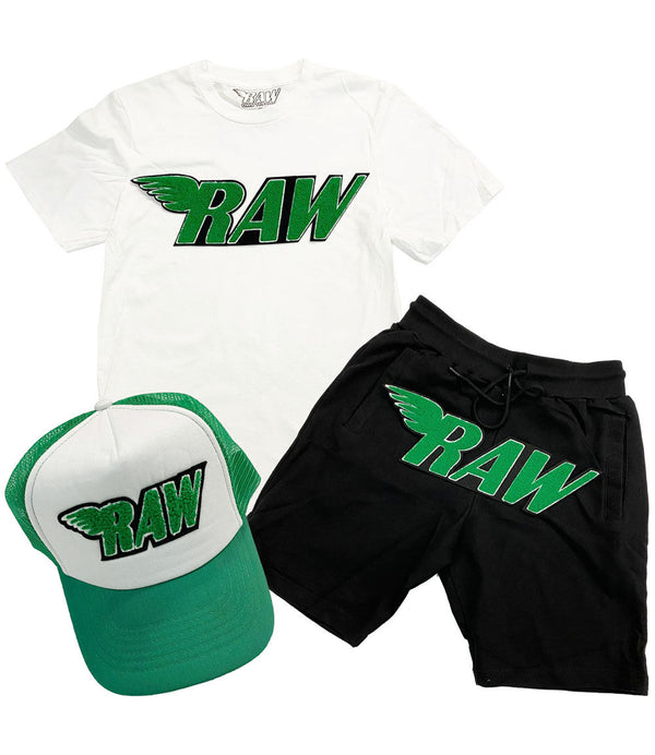 RAW Green Chenille Crew Neck, Cotton Shorts and Taw Hat Set - White Tee / Black Shorts / Green/White Hat