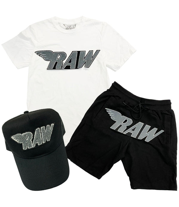 RAW Grey Chenille Crew Neck, Cotton Shorts and Hat Set - White Tee / Black Shorts / Black Hat