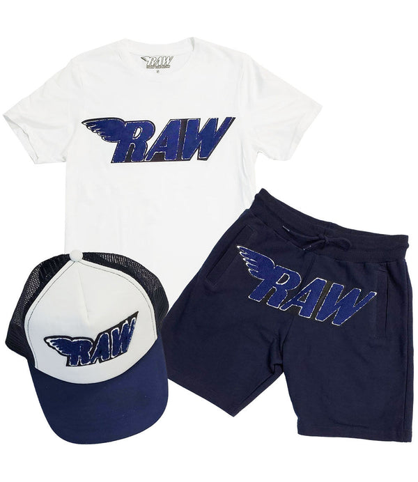 RAW Navy Chenille Crew Neck, Cotton Shorts and Taw Hat Set - White Tee / Navy Shorts / Navy/White Hat
