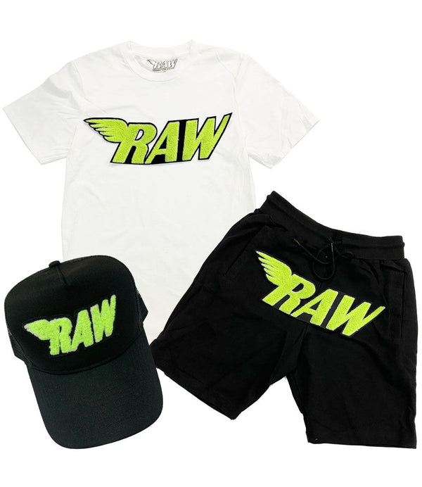 RAW Neon Yellow Chenille Crew Neck, Cotton Shorts and Hat Set - White Tee / Black Shorts / Black Hat