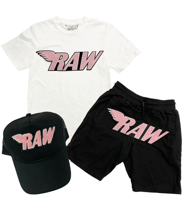 RAW Pink Chenille Crew Neck, Cotton Shorts and Hat Set - White Tee / Black Shorts / Black Hat