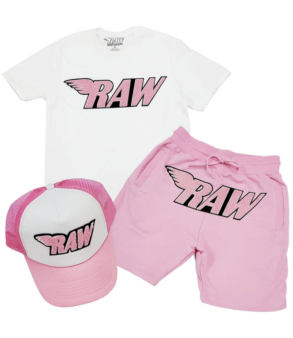 RAW Pink Chenille Crew Neck, Cotton Shorts and Taw Hat Set - White Tee / Pink Shorts / Pink/White Hat