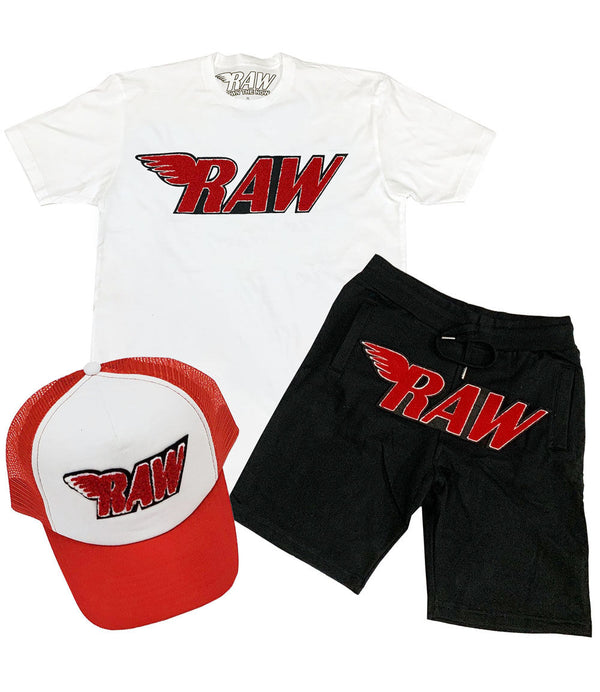 RAW Red Chenille Crew Neck, Cotton Shorts and Taw Hat Set - White Tee / Black Shorts / Red/White Hat
