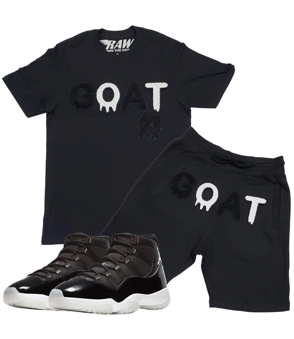 GOAT Black Chenille Crew Neck and Cotton Shorts Set - Black Tees / Black Shorts