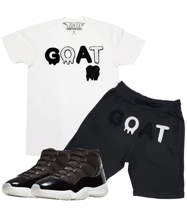 GOAT Black Chenille Crew Neck and Cotton Shorts Set - White Tees / Black Shorts
