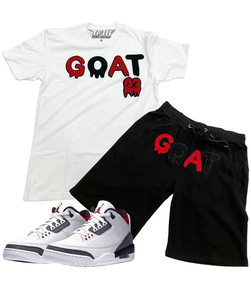 GOAT Chenille Crew Neck and Cotton Shorts Set - White Tee / Black Shorts