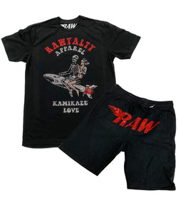 Kamikaze Love Bling Crew Neck and RAW Red Bling Cotton Shorts Set - Black Tee / Black Shorts