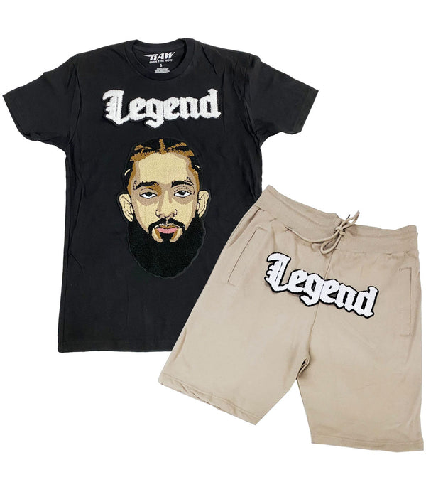 Legend White Chenille Crew Neck and Cotton Shorts Set - Black Tees / Stone Shorts