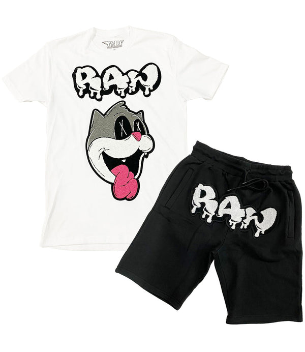 Loony RAW Drip White Chenille Crew Neck and Cotton Shorts Set - White Tees / Black Shorts