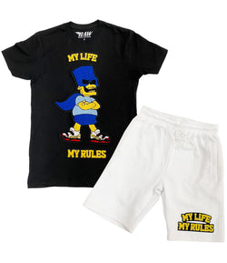 My Life My Rules Chenille Crew Neck and Cotton Shorts Set - Black Tees / White Shorts