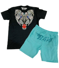 Panther Bling Crew Neck and Cotton Shorts Set