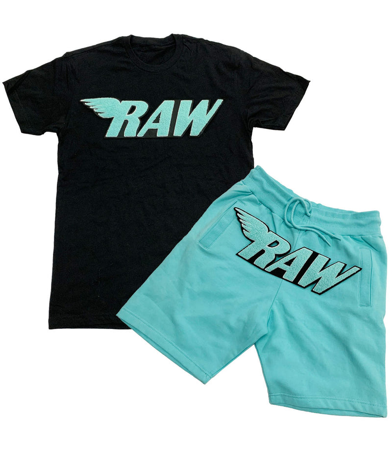 RAW Aqua Chenille Crew Neck and Cotton Shorts Set