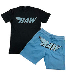 RAW Baby Blue Chenille Crew Neck and Cotton Shorts Set