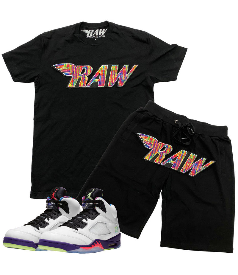 RAW Bel Air Chenille Crew Neck and Cotton Shorts Set - Black Tees / Black Shorts