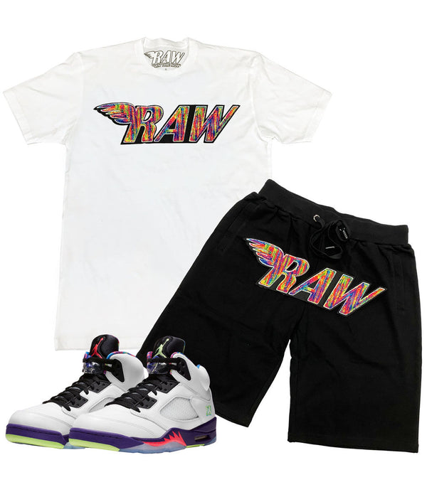 RAW Bel Air Chenille Crew Neck and Cotton Shorts Set - White Tee / Black Shorts