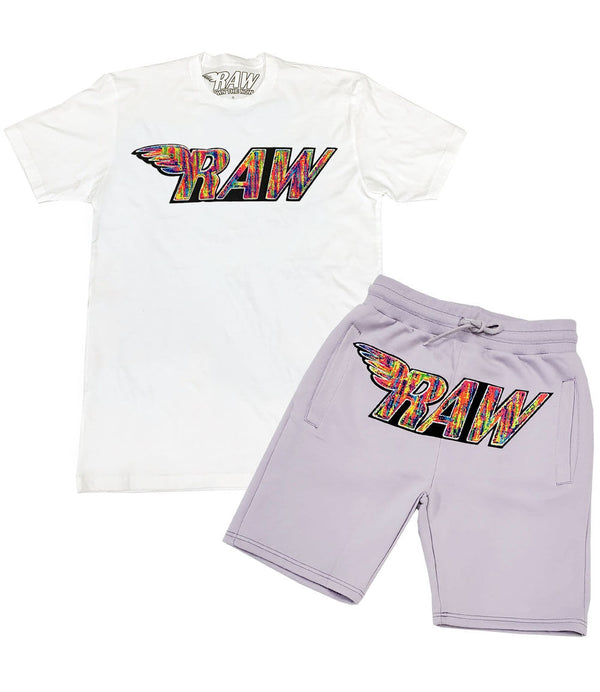 RAW Bel Air Chenille Crew Neck and Cotton Shorts Set - White Tee / Light Purple Shorts