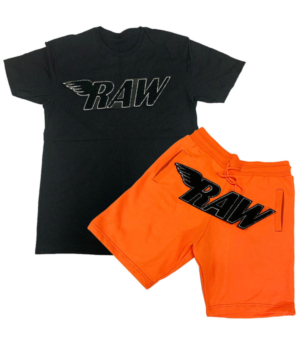 RAW Black Chenille Crew Neck and Cotton Shorts Set - Black Tee / Neon Orange Shorts