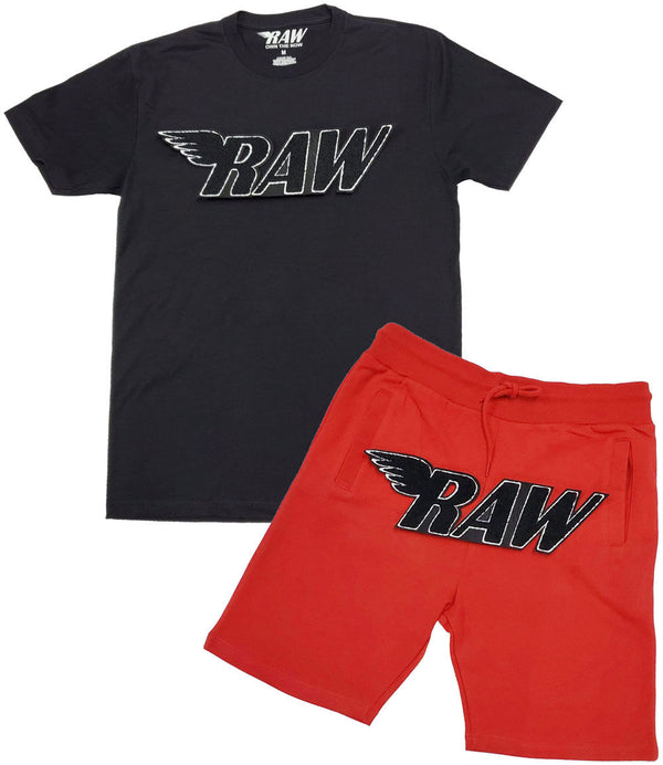 RAW Black Chenille Crew Neck and Cotton Shorts Set - Black Tee / Red Shorts
