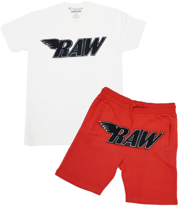RAW Black Chenille Crew Neck and Cotton Shorts Set - White Tee / Red Shorts