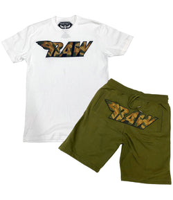 RAW Camo Chenille Crew Neck and Cotton Shorts Set - White Tee / Olive Shorts