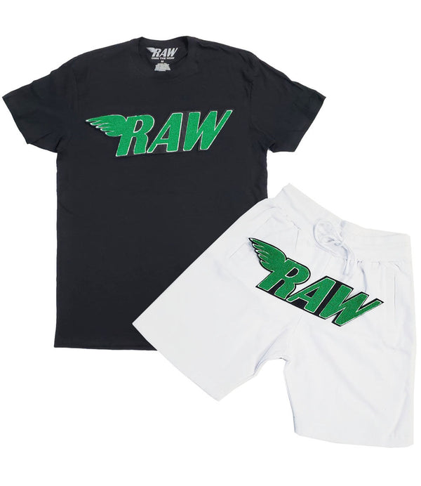 RAW Green Chenille Crew Neck and Cotton Shorts Set - Black Tees / White Shorts
