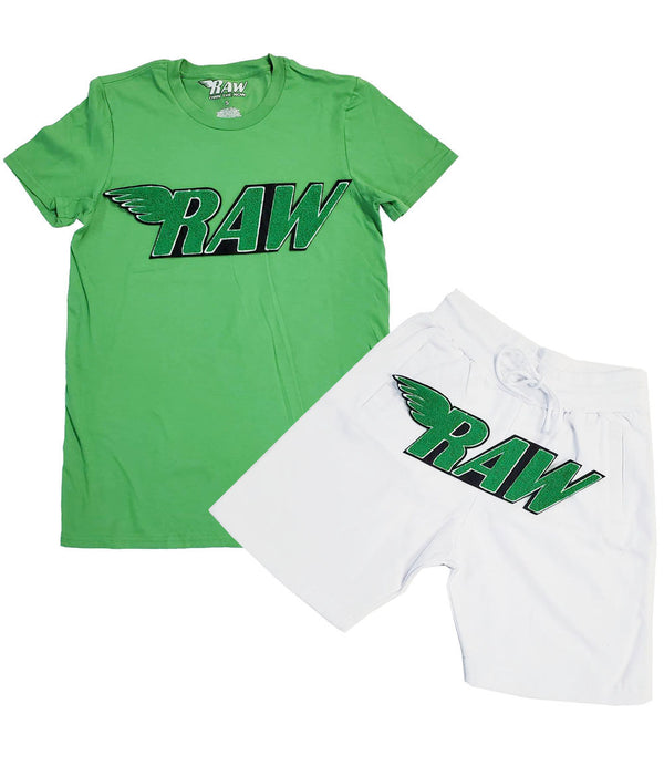 RAW Green Chenille Crew Neck and Cotton Shorts Set - Green Tees / White Shorts