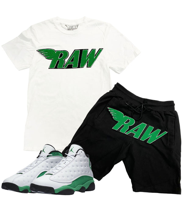RAW Green Chenille Crew Neck and Cotton Shorts Set - White Tee / Black Shorts