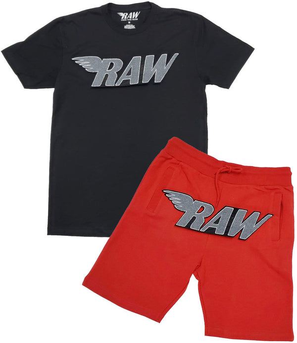 RAW Grey Chenille Crew Neck and Cotton Shorts Set - Black Tee / Red Shorts