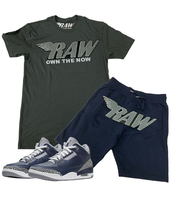RAW Grey Chenille Crew Neck and Cotton Shorts Set - Heavy Metal Tees / Navy Shorts