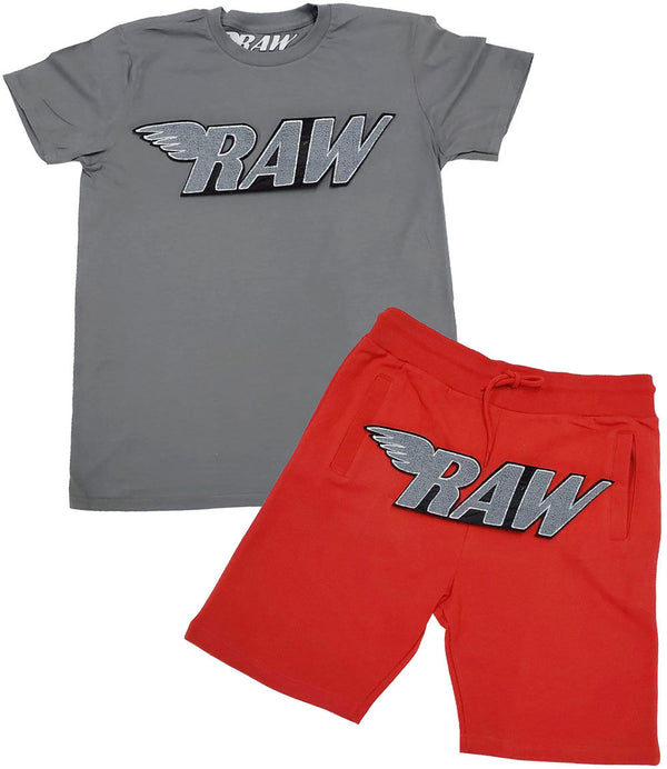 RAW Grey Chenille Crew Neck and Cotton Shorts Set - Heavy Metal Tee / Red Shorts
