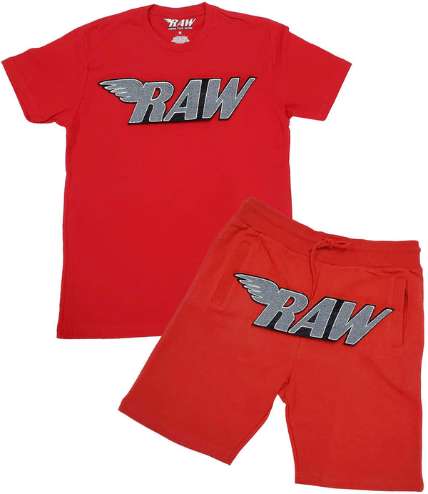 RAW Grey Chenille Crew Neck and Cotton Shorts Set - Red Tee / Red Shorts
