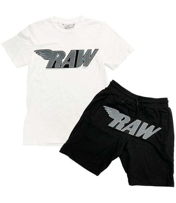 RAW Grey Chenille Crew Neck and Cotton Shorts Set - White Tee / Black Shorts