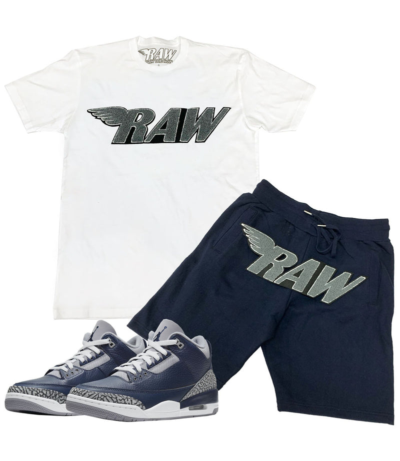 RAW Grey Chenille Crew Neck and Cotton Shorts Set - White Tees / Navy Shorts