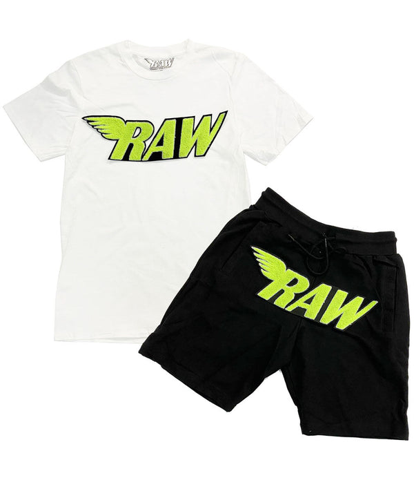 RAW Neon Yellow Chenille Crew Neck and Cotton Shorts Set - White Tee / Black Shorts
