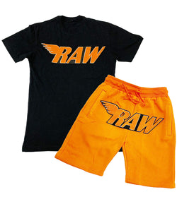 RAW Wing Orange White Chenille Crew Neck and Cotton Shorts Set - Black Tees / Orange Shorts