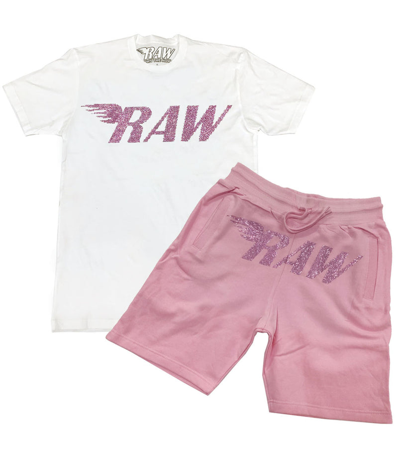 RAW Pink Bling Crew Neck and Cotton Shorts Set