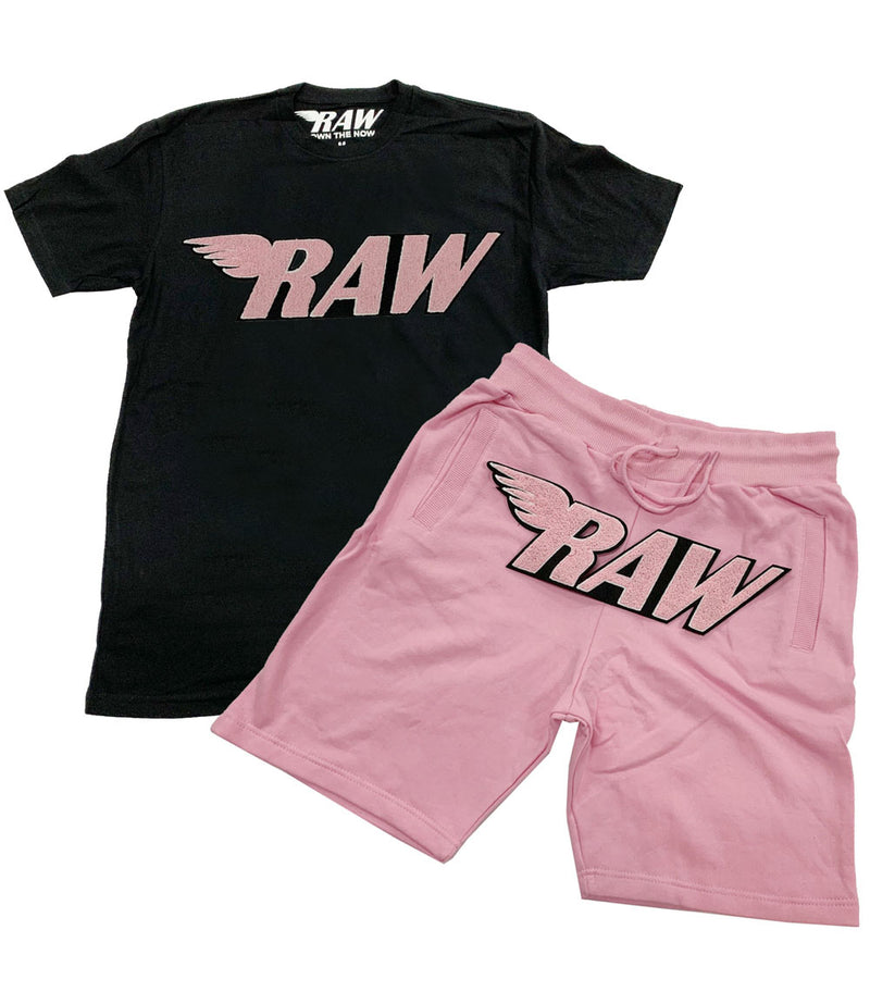 RAW Pink Chenille Crew Neck and Cotton Shorts Set