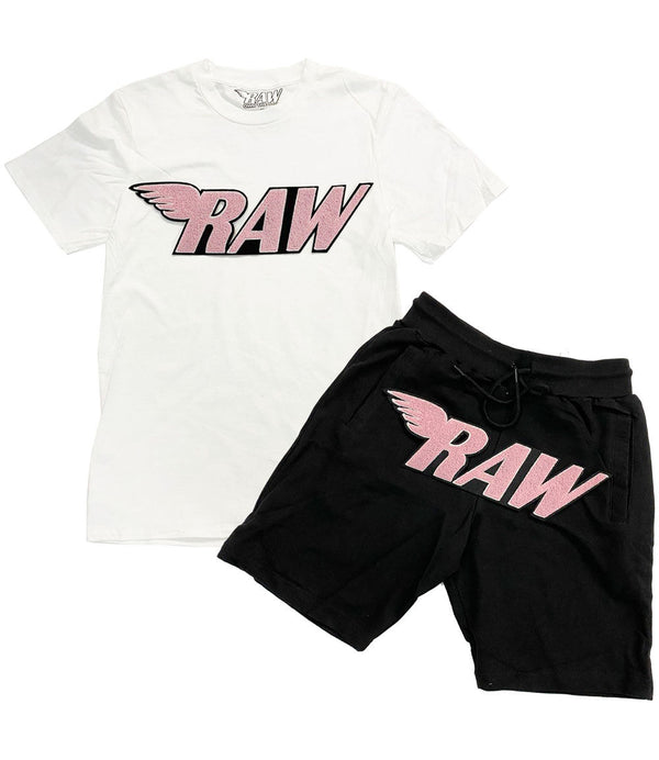 RAW Pink Chenille Crew Neck and Cotton Shorts Set - White Tee / Black Shorts