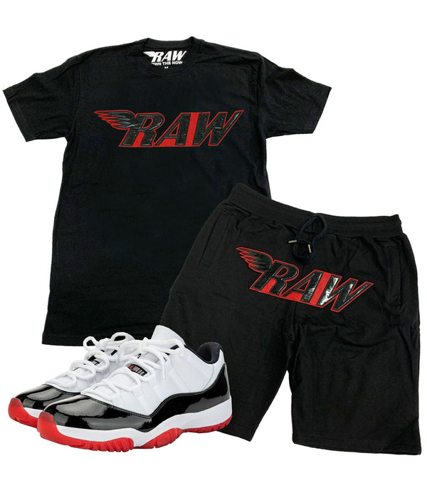 RAW PU Crew Neck and Cotton Shorts Set