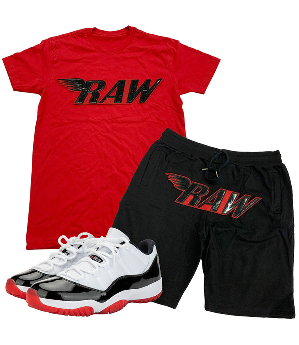 RAW PU Red Crew Neck and Cotton Shorts Set - Red Tees / Black Shorts