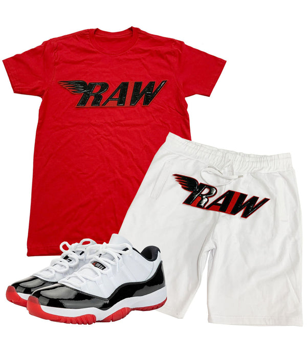 RAW PU Red Crew Neck and Cotton Shorts Set - Red Tees / White Shorts