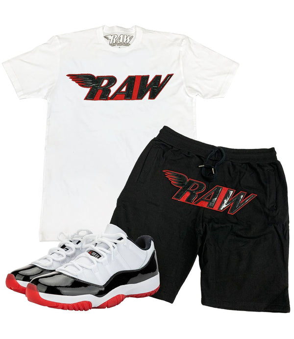 RAW PU Red Crew Neck and Cotton Shorts Set - White Tees / Black Shorts