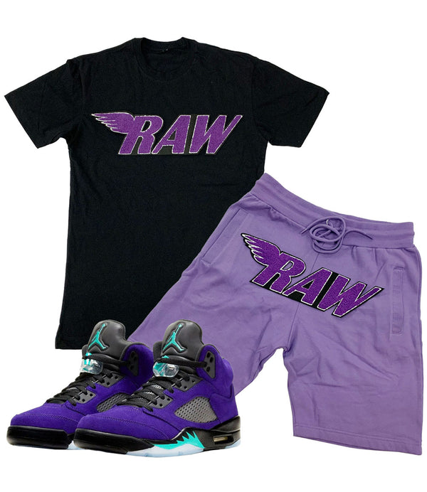 RAW Purple Chenille Crew Neck and Cotton Shorts Set - Black Tees / Lavender Shorts