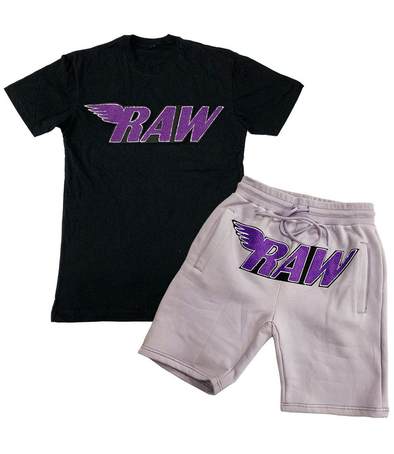 RAW Purple Chenille Crew Neck and Cotton Shorts Set - Black Tee / Light Purple Shorts