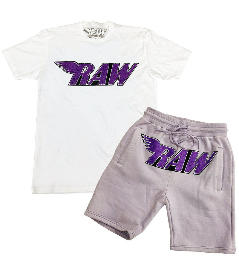 RAW Purple Chenille Crew Neck and Cotton Shorts Set - White Tee / Light Purple Shorts