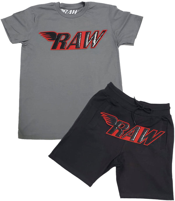 RAW PU Red Chenille Crew Neck and Cotton Shorts Set - Heavy Metal Tees / Black Shorts