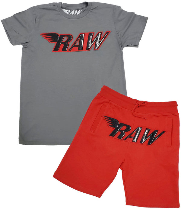 RAW PU Red Chenille Crew Neck and Cotton Shorts Set - Heavy Metal Tee / Red Shorts