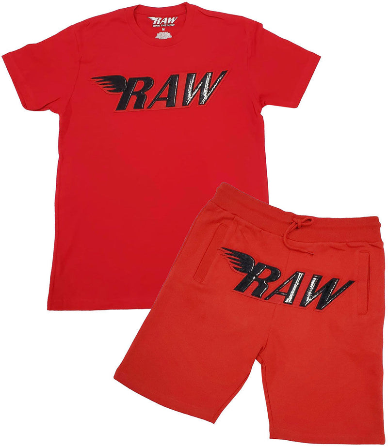 RAW PU Red Chenille Crew Neck and Cotton Shorts Set - Red Tee / Red Shorts