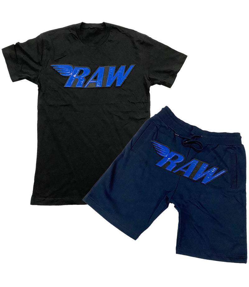 RAW PU Royal Crew Neck and Cotton Shorts Set - Black Tee / Midnight Navy Shorts