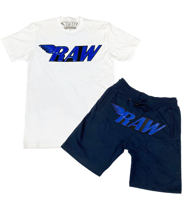 RAW PU Royal Crew Neck and Cotton Shorts Set - White Tee / Midnight Navy Shorts